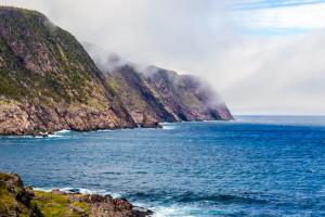 Dramatic cliffs and ocean on the East Coast Trail in Newfoundland, Canada, near St. John's