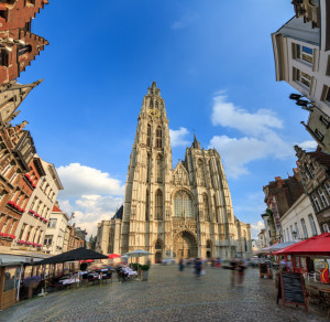 Beautiful wide angle view of the Cathedral of Our Lady (Onze-Lieve-Vrouwekathedraal) seen from the Handschoenmarkt in Antwerp, Belgium