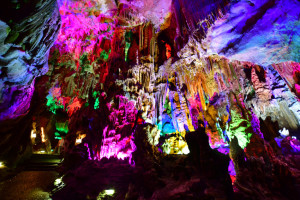 Colorful stalactites in Silver Cave, Guilin, China