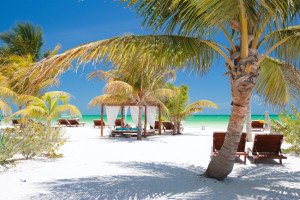 Beach beds among palm trees at perfect tropical coast on Holbox island in Mexico