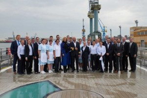 Crystal's first 'Rhine Class' ship delivered to CEO and president, Edie Rodriguez, during handover ceremony in Germany.