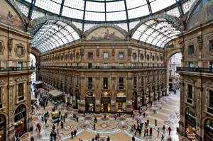 MILAN, ITALY - MAY 2: Unique view of Galleria Vittorio Emanuele II seen from above in Milan