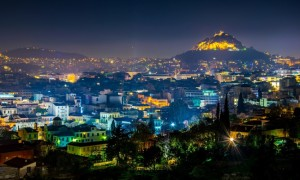 Night aerial view of Lycabetus and its neighborhood in Athens