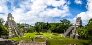 Mayan Temples of Gran Plaza or Plaza Mayor at Tikal National Park -