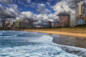 Republic of South Africa. Durban, KwaZulu-Natal. The Golden Mile - Durban's Beachfront Promenade and coastline