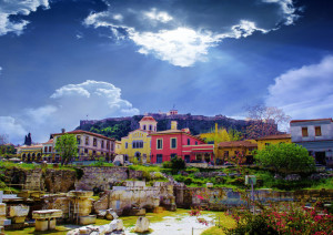 Athens, Greece. Plaka area Remains of the Hadrian's Library in Monastiraki square in Athens, Greece