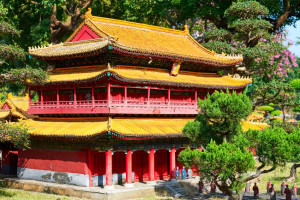 The Confucian temples in Qufu county of Shandong province.The classic Chinese ancient buildings