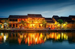 The old streets of Hoi An City in the evening
