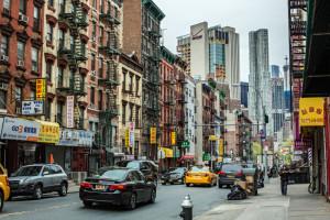 Mott Street, Chinatown, New York City. USA - April 29, 2016: Chinatown, New York City