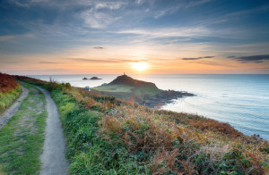 Sunset from the South West Coast Path at Cape Cornwall near Land's End