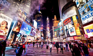 Times Square, featured with Broadway Theaters and animated LED signs, is a symbol of New York City and the United States, Manhattan, New York City