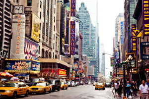 : Times Square featured with Broadway Theaters and animated LED signs is a symbol of New York City and the United States,  in Manhattan, New York City.