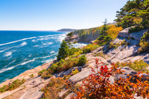 View of the Maine coastline at Acadia National park