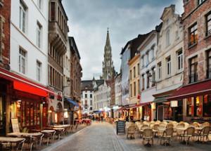 Old street in Brussels. Belgium