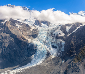 Aerial view of Fox glacier from helicopter, New Zealand