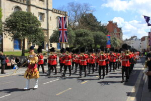 British military parade with marching back