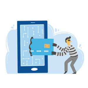 Cartoon image of crook stealing credit card from phone.
