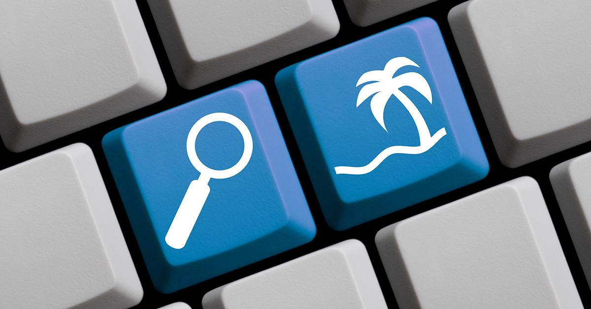 Keyboard showing magnifying glass and palm tree button
