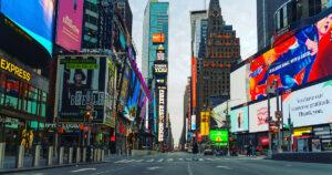 empty Times Square amid Coronavirus(Covid-19) Pandemic.